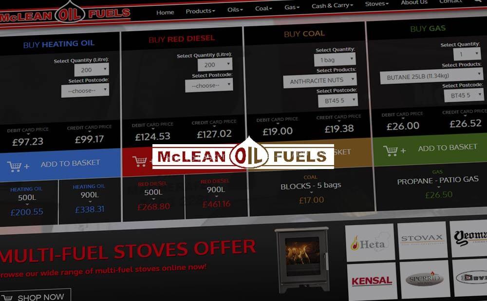 Custom CMS e-Commerce website for Mc Leans Oil Fuels