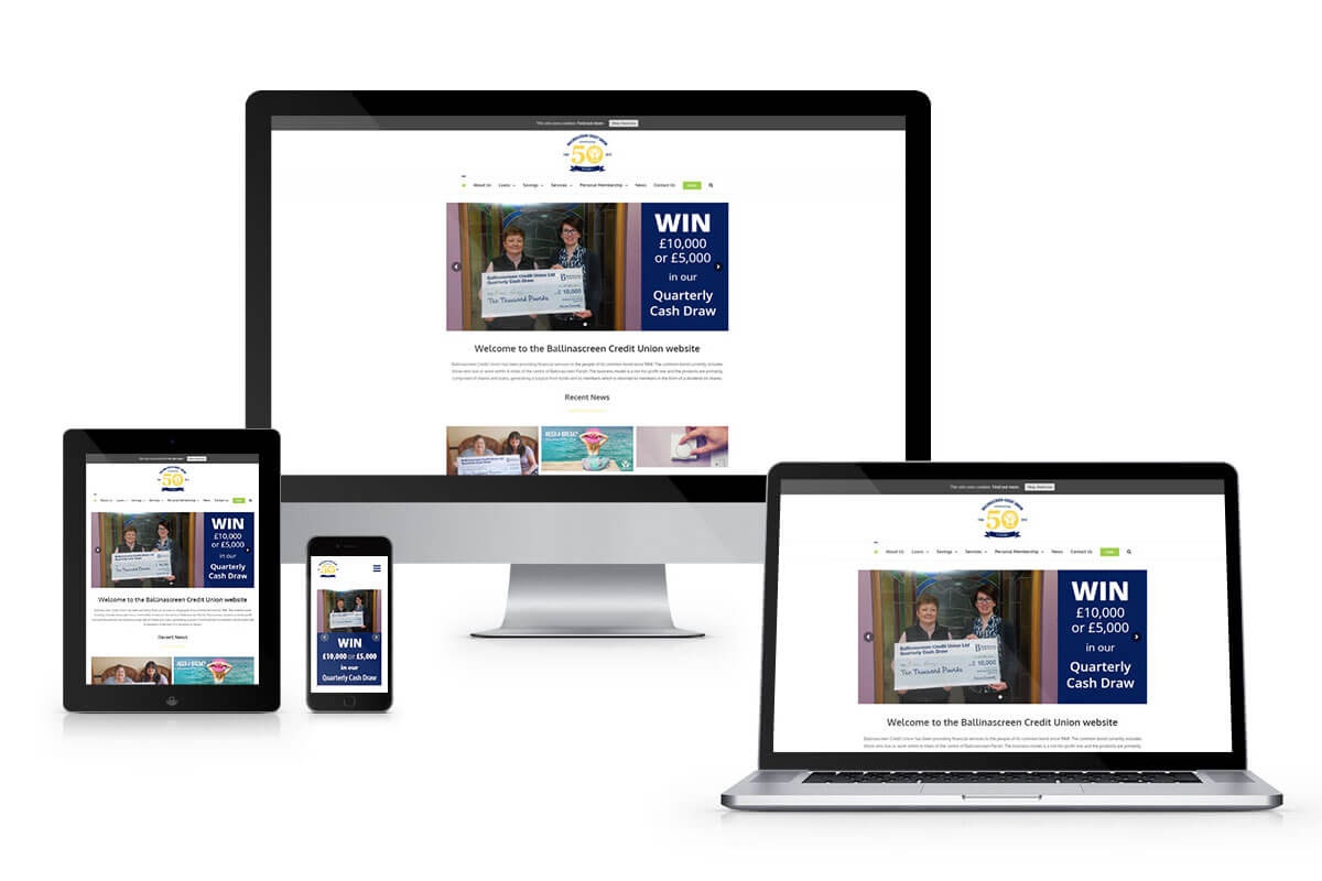 Different screens mockup of ballinascreen credit union new website